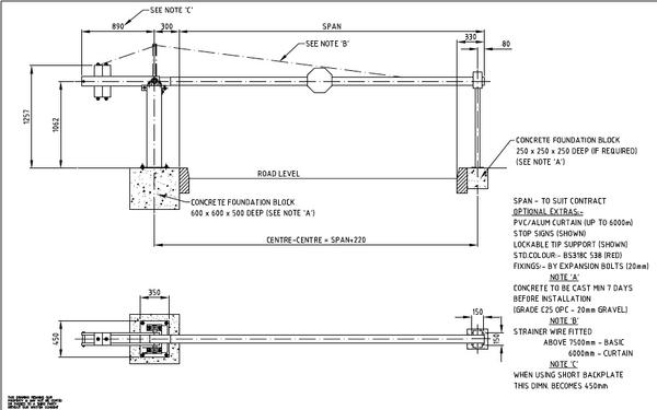 Arm Barrier Manual - Heavy Duty (3m - 8 5m)- Popular