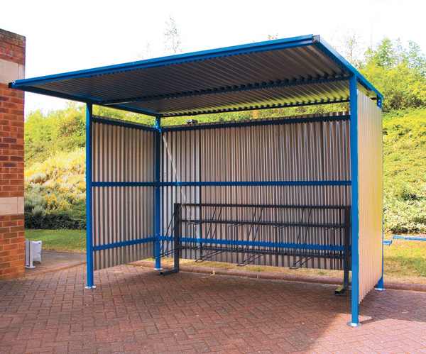Traditional cycle shelter galv