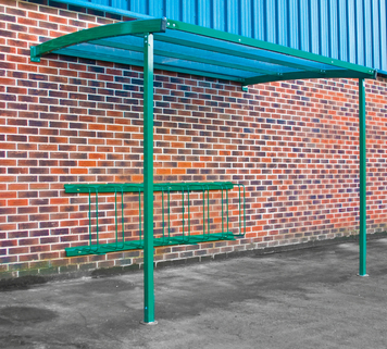 Bike Shelter Wall Mounted - Includes Sheffield Loops for 6 Bikes Solid Quality