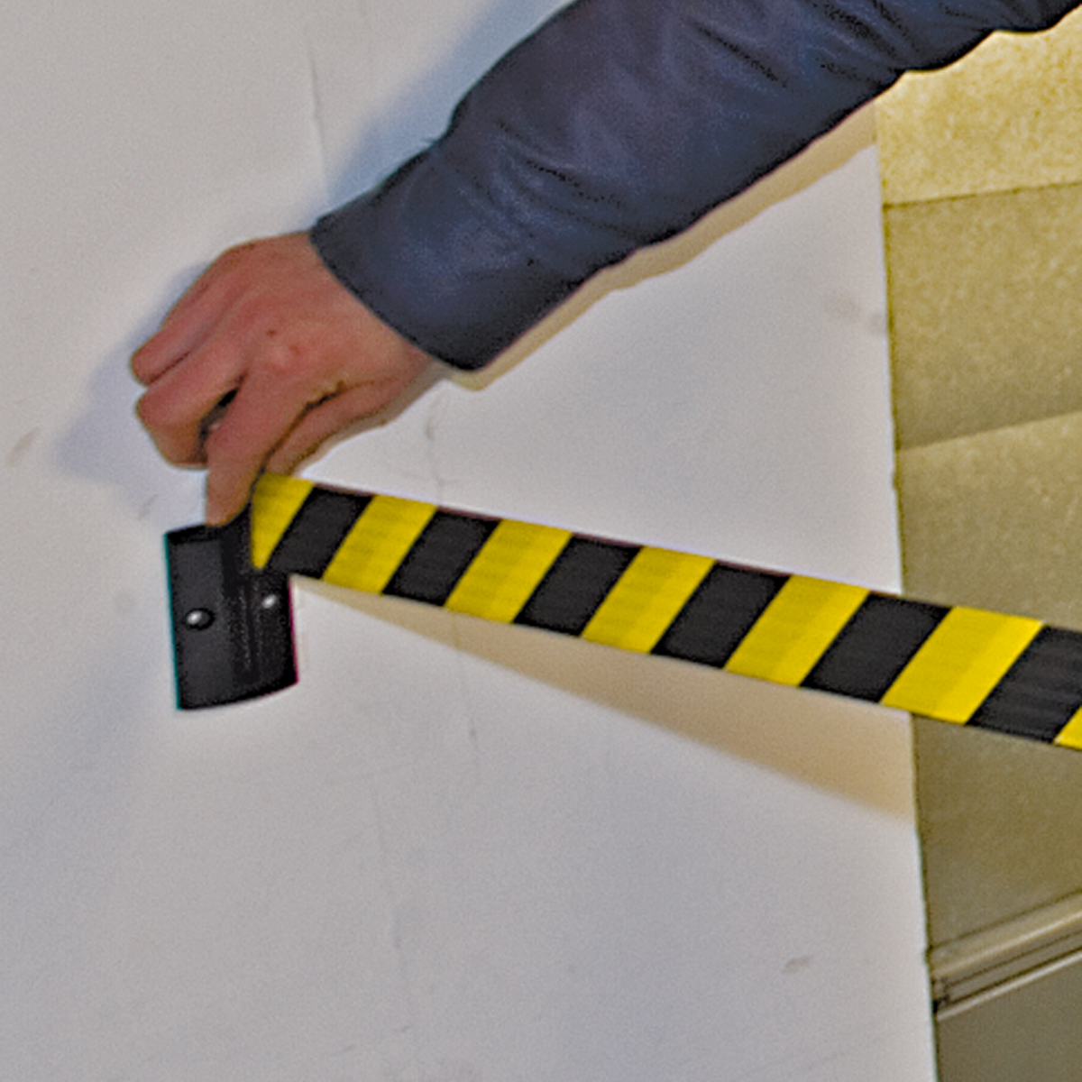 Belt Barrier Wall mounted (3 & 4 metres) moulded in hard wearing Black ABS image