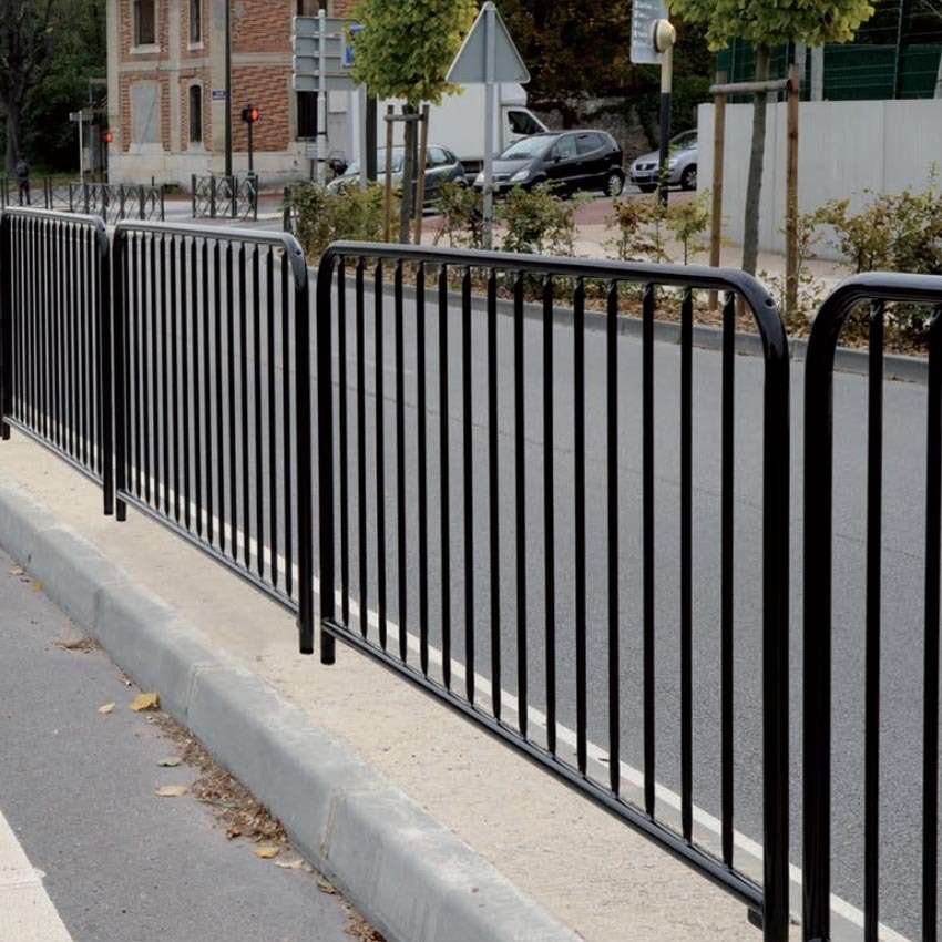 Railing for pedestrian safety -Galvanised  or Galvanised and painted-Ideal for safety around school, play areas, foothpaths image