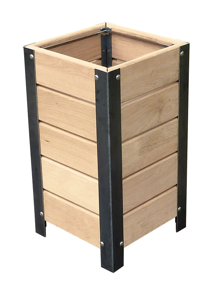 Litter Bins In Oak Wood Steel For Outdoor Procity Barriers Direct