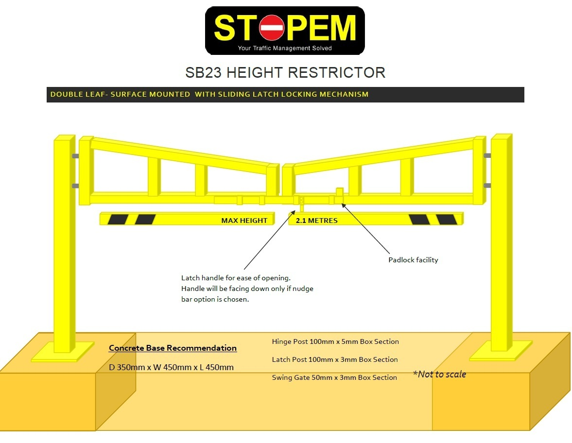Height Restriction Barrier -Strong Opening- Double and Single Leaf 3-10M with two fixing options image