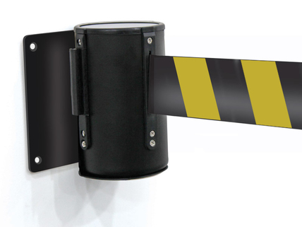 Black yellow wall mounted belt barrier 1 listing