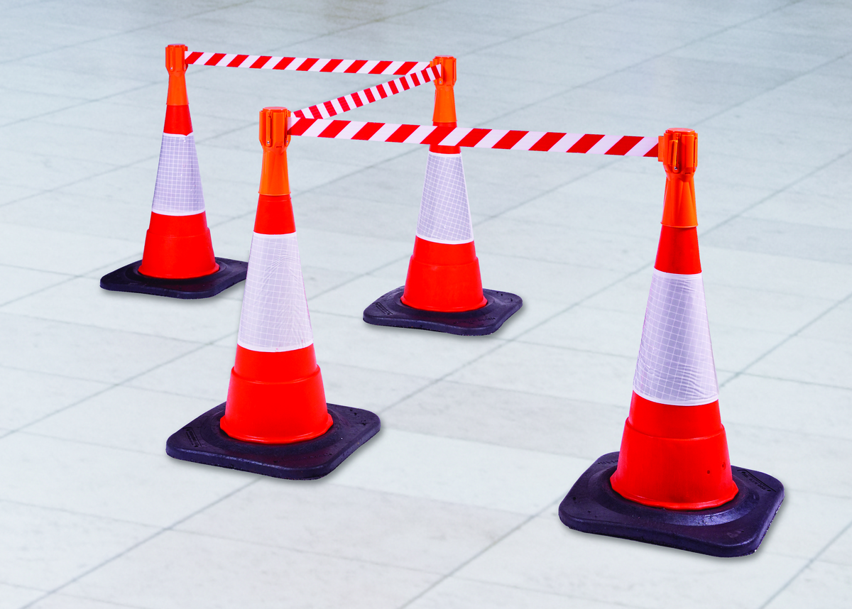 Tensabarrier® Tensacone- Transform cones in retractable Barrier- 3.65m tape image