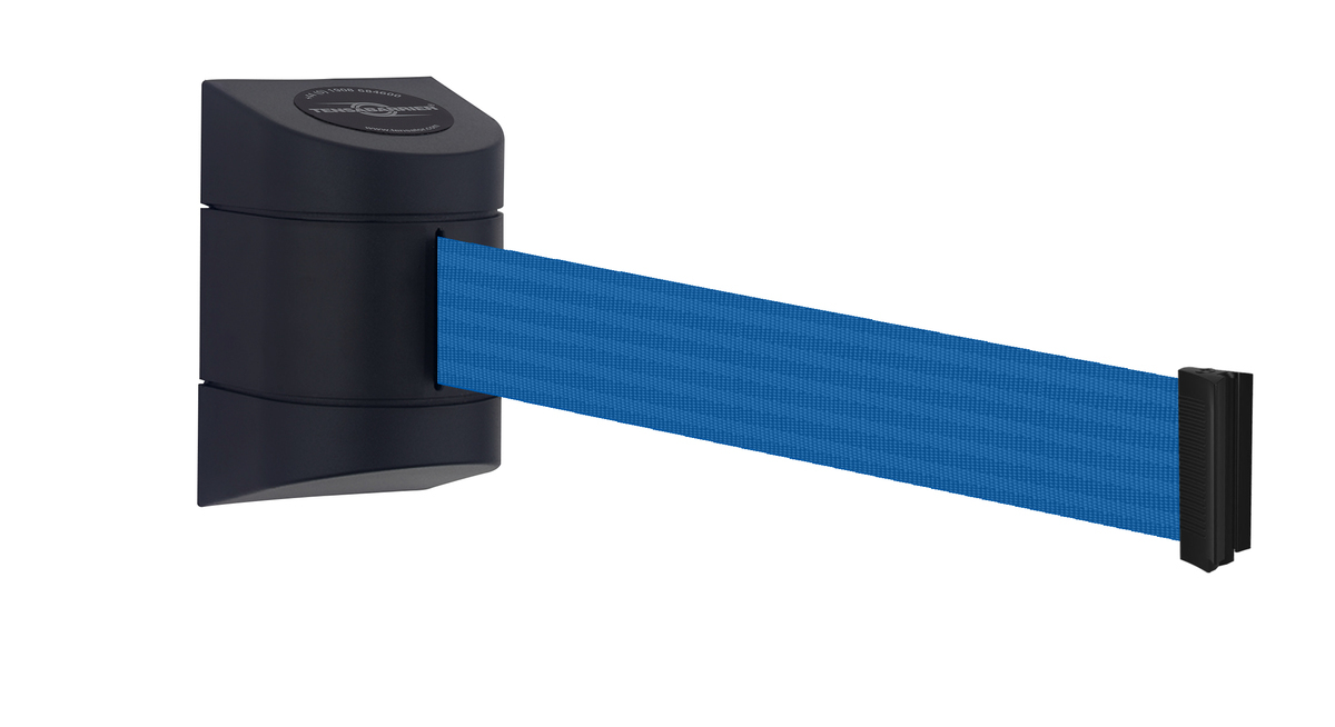 Tensabarrier® Wall Mounted Stretch Barrier MAXI - 7.7m & 9m tapes - Standard Fixing - Wall Clip Provided image