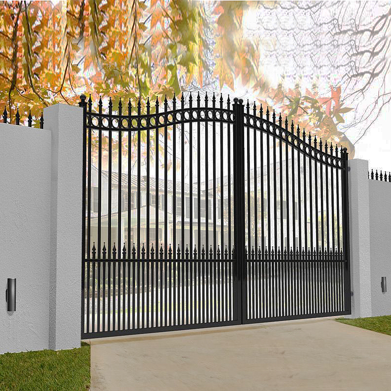 Gate in aluminium with bell curved top - Maintenance free- Double swing gate image