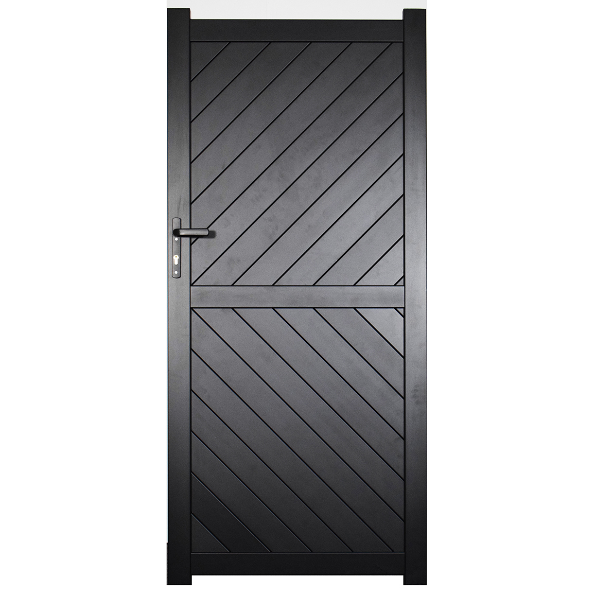 Side Gate & Pedestrian gate in Aluminium with diagonal solid infill & Flat top. - Maintenance free - Choice of colours and dimension image