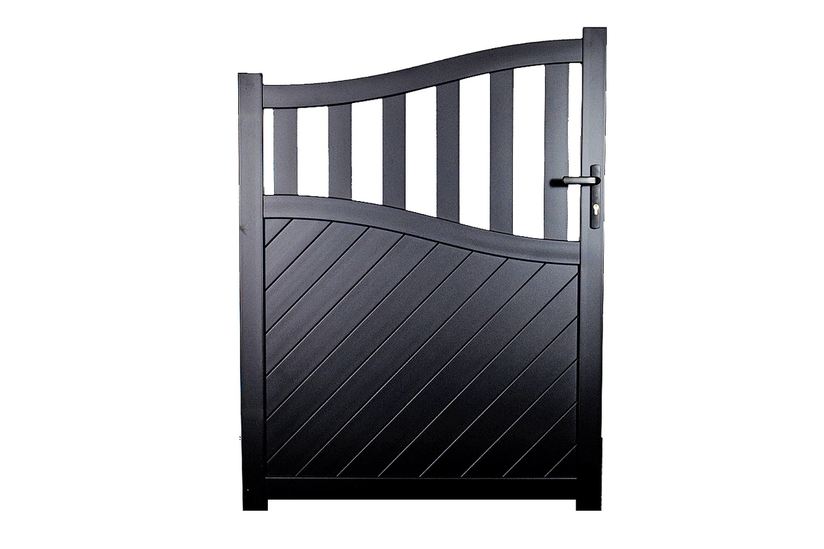 Pedestrian gate in Aluminium with mixed diagonal infill & Bell curved top - Maintenance free - Choice of colours and dimensions image