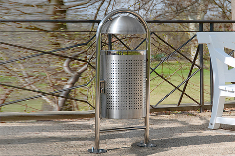 Litter Bin Stainless Steel -  For public spaces, elegant solution