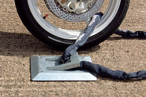 Locking Loop-Secure your motorcycle and Extremely durable. Concrete in or bolt down