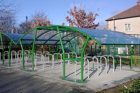 Cambourne cycle shelter green