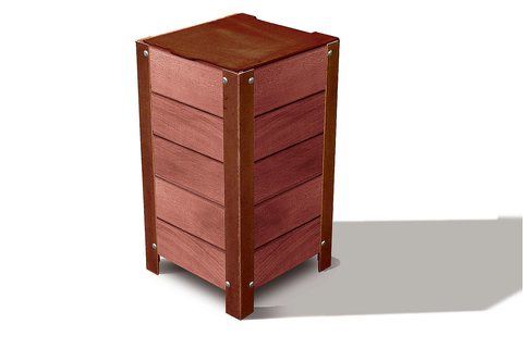Litter Bins in Oak Wood & Steel for outdoor-  PROCITY®