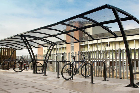"Cycle Shelter in Mild Steel ""Pluto"" 4m  from Marshalls. Holds upto 10 Bikes"