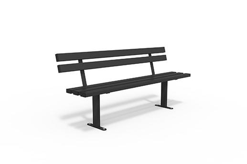 Seating in Black power coated Steel with choice of wood slats