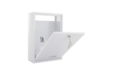 White Indoor Mailbox - rear access for door mail slot
