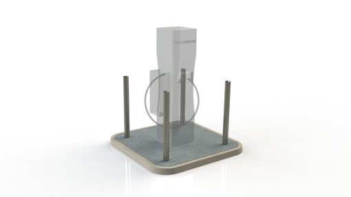 Electric Charging Station Protection with 4 Bollard Stainless Steel Semi Dome