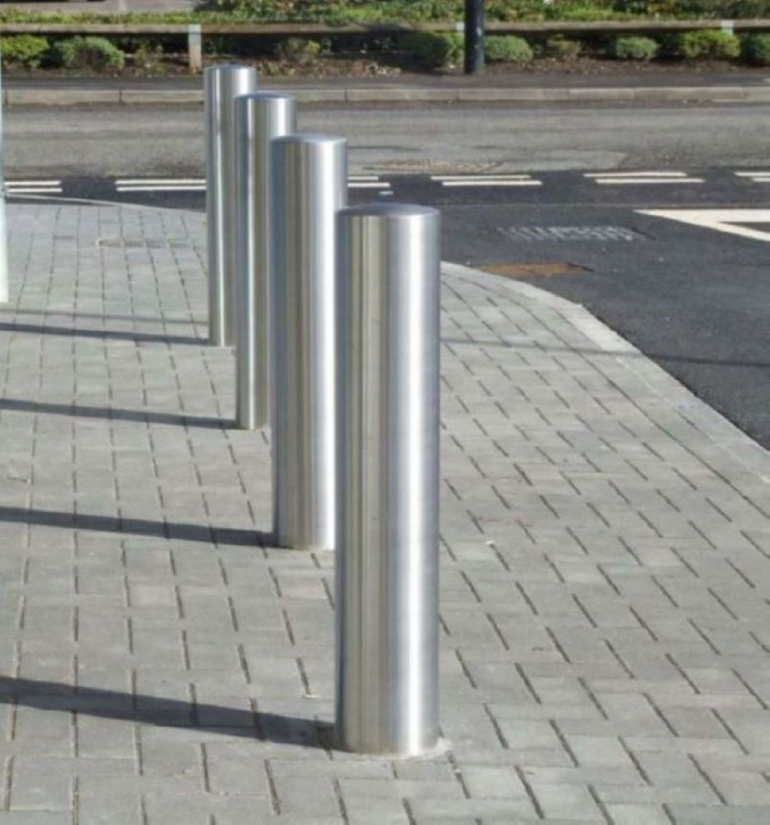 Bollard Stainless Steel Semi Dome – Choice of diameters, thickness 2mm & 1200mm Overall Length - 900mm above -Super Satin finish grade 304 image