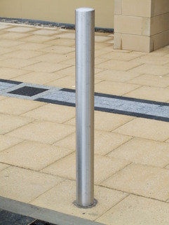 Bollard Stainless Steel Semi Dome – 60mm x 2mm x 1500mm Overall Length- super satin finish