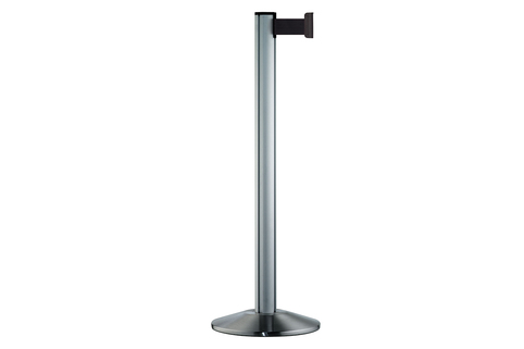 Stretch Queue Barrier - Cast iron base with aluminium cover plate  and post with 2.3m Black belt - BELTRAC