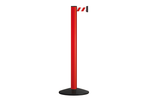 Stretch Belt Barrier – Warehouse/Facility Premium Barrier to extend Safety – High visible Red Post with Red & White Belt (3.7m)