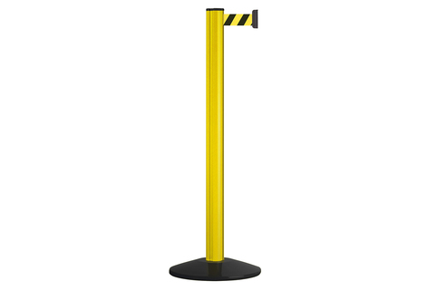 Stretch Belt Barrier – Warehouse/Facility Premium Barrier Beltrac to Extend Safety – Yellow Post with Yellow & Black Belt (3.7m)