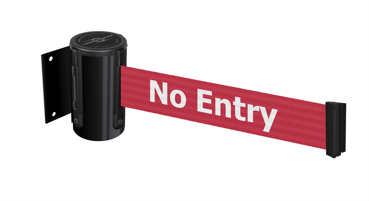 Tensabarrier® Heavy Duty Wall Mounted Retractable Barrier with 2.3m Safety Message Webbing - Wall Clip Provided. image