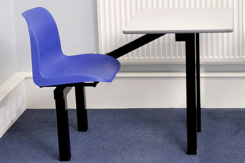 Canteen Table for 1 Person - Blue Seat - to facilitate social distancing in canteen