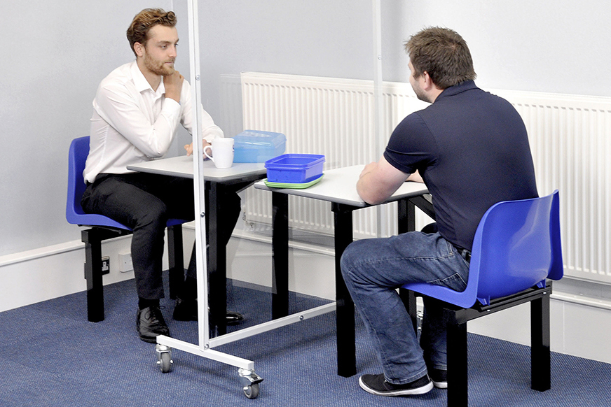 Canteen Table for 1 Person - Blue Seat - to facilitate social distancing in canteen image