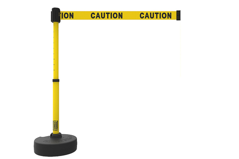 Stretch Belt Barrier System, telescopic posts and belts with several safety related messages - Banner Stakes